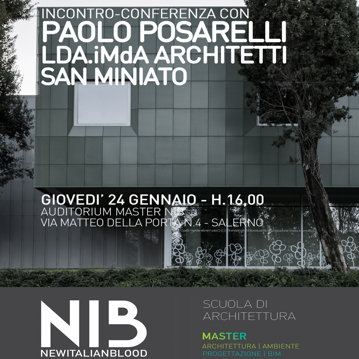 ldaimda invitati lecture conferenza salerno nib master new italian blood relatore paolo posarelli per lezione architettura