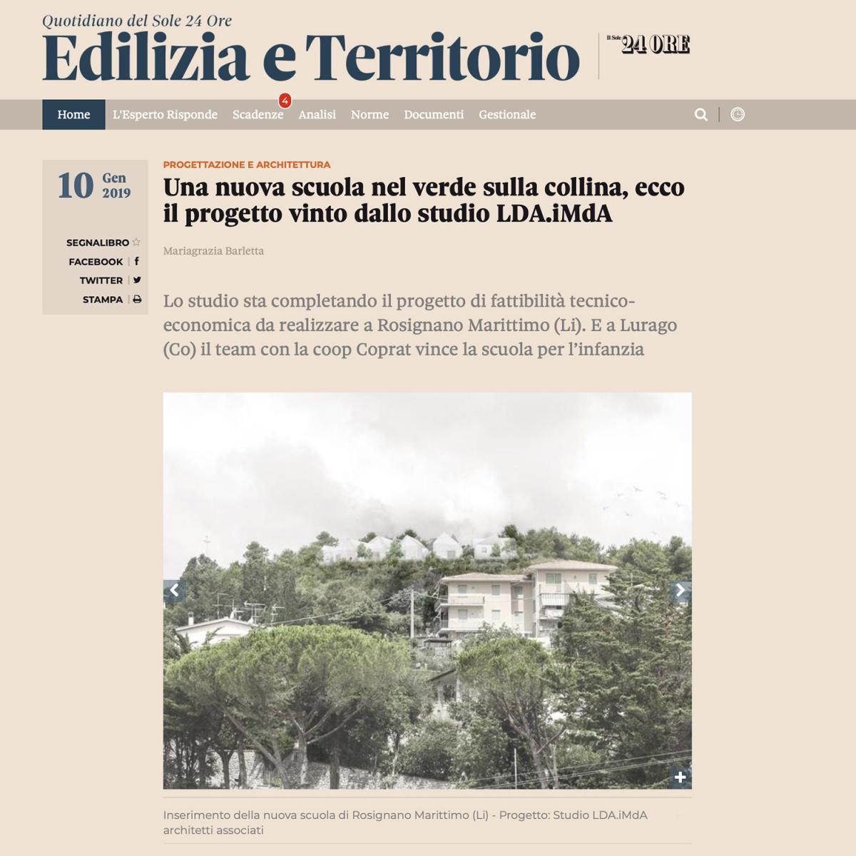concorso polo scolastico scuola rosignano livorno vinvitore concorso ldaimda pubblicato su sole 24ore edilizia e territorio