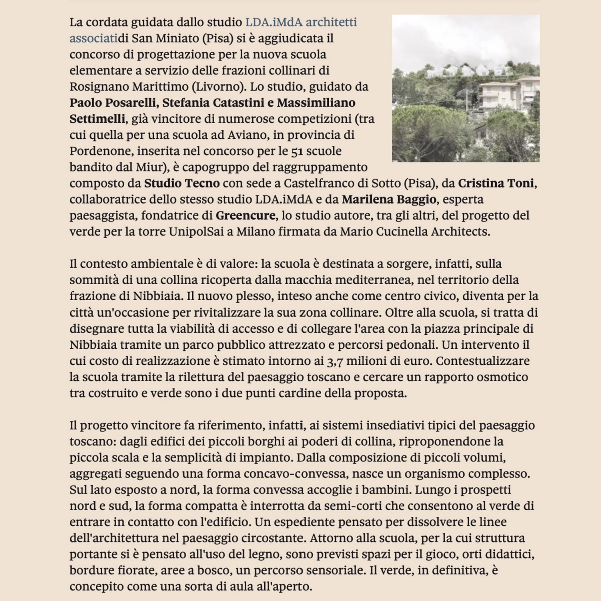 concorso polo scolastico scuola rosignano livorno vinvitore concorso ldaimda pubblicato su sole24ore edilizia e territorio