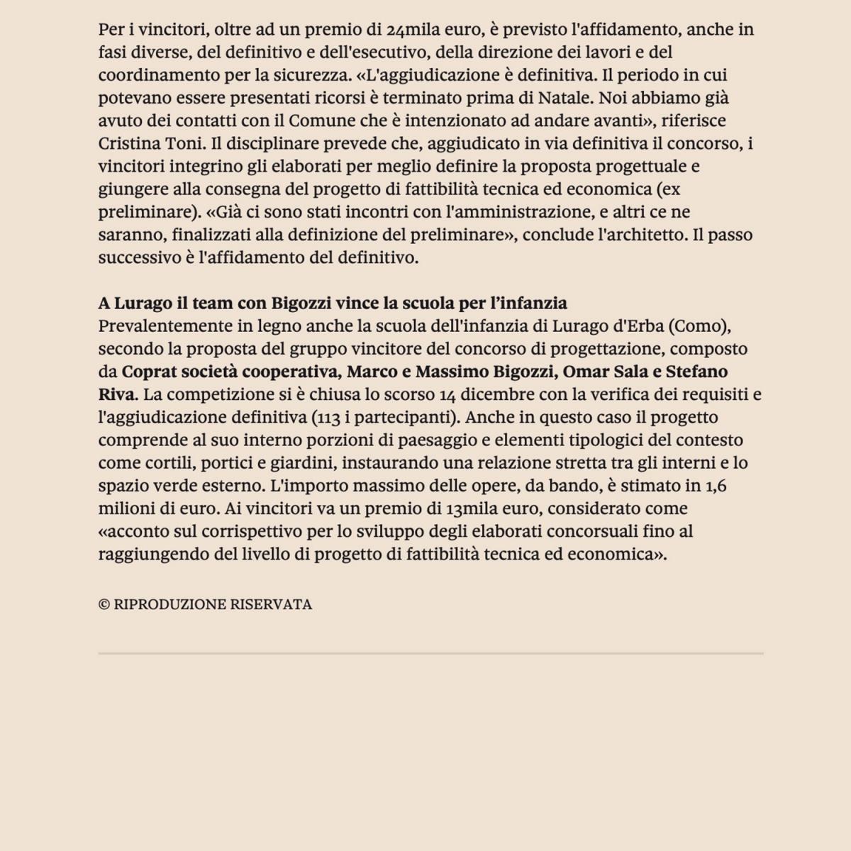 concorso polo scolastico scuola rosignano livorno vinvitore concorso ldaimda pubblicato su sole 24ore edilizia e territorio mariagrazia barletta