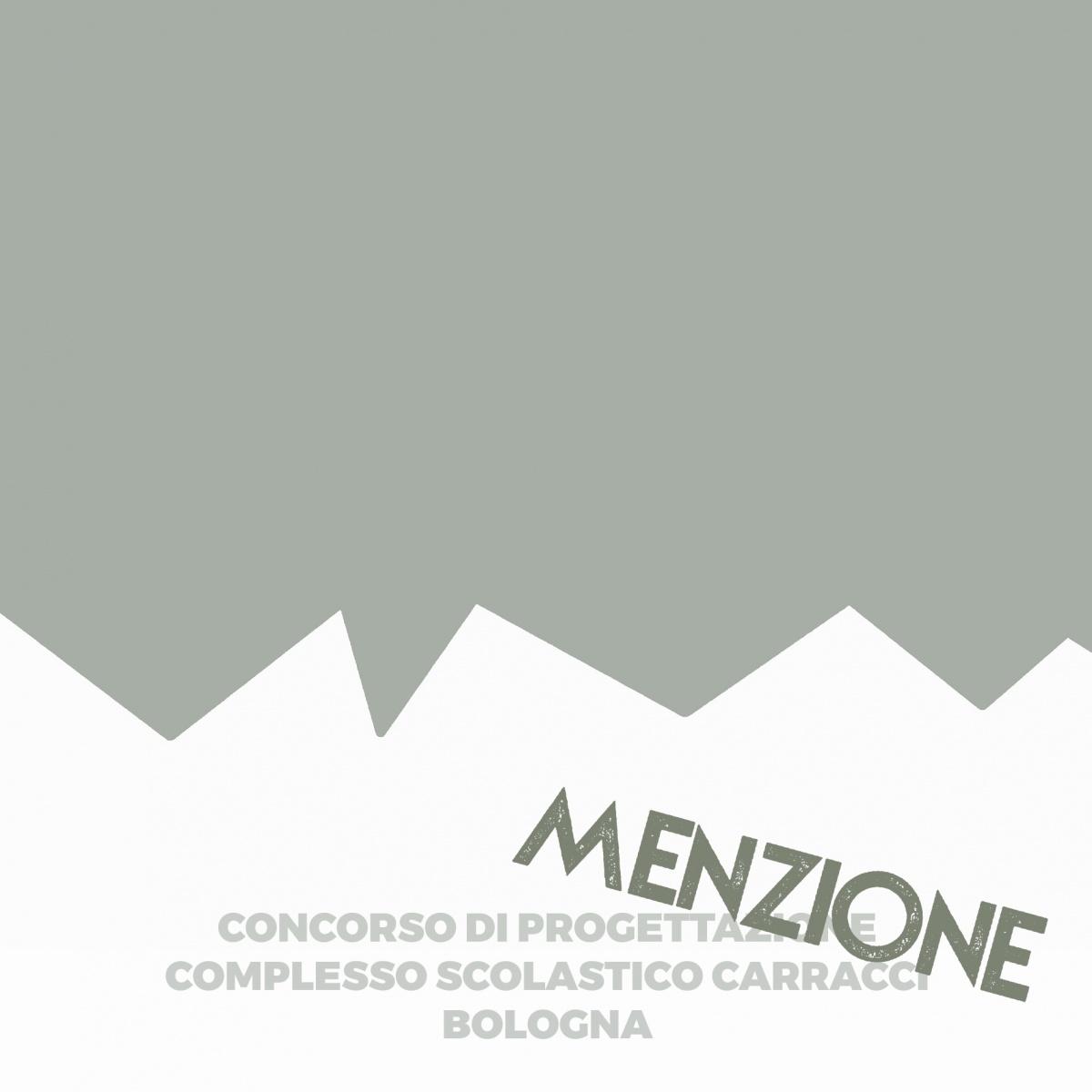 immagine grafica per comunicare la menzione ricevuta da ldaimda al concorso di progettazione polo scolastico carracci bologna