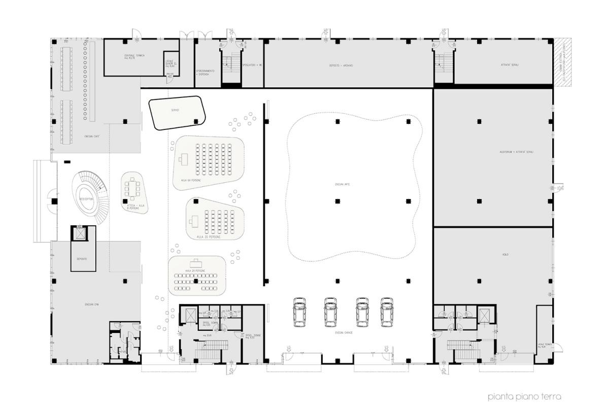 pianta piano terra caffetteria direzione e uffici