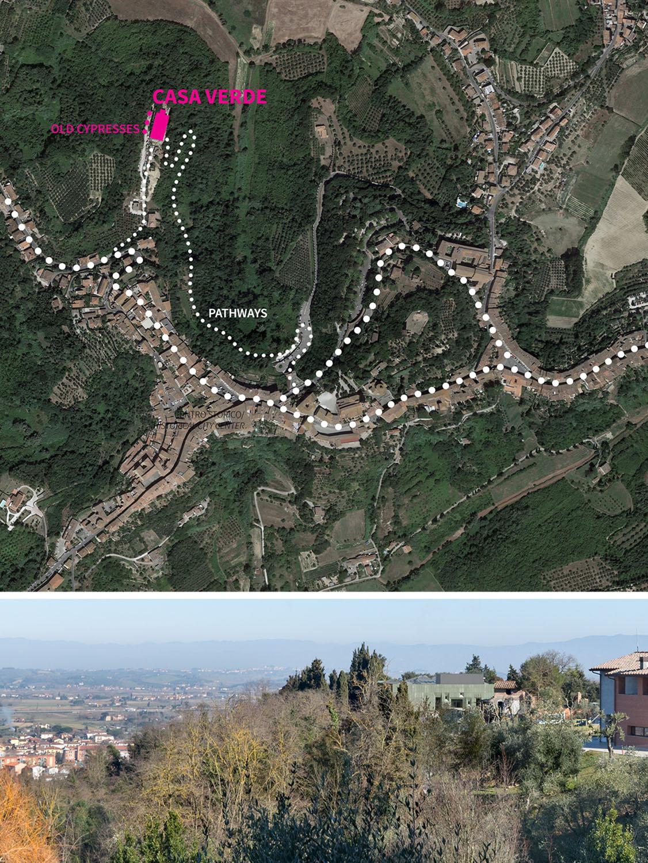 planimetria di san miniato pisa con percorsi città casa verde architettura contemporanea per disabili in Toscana