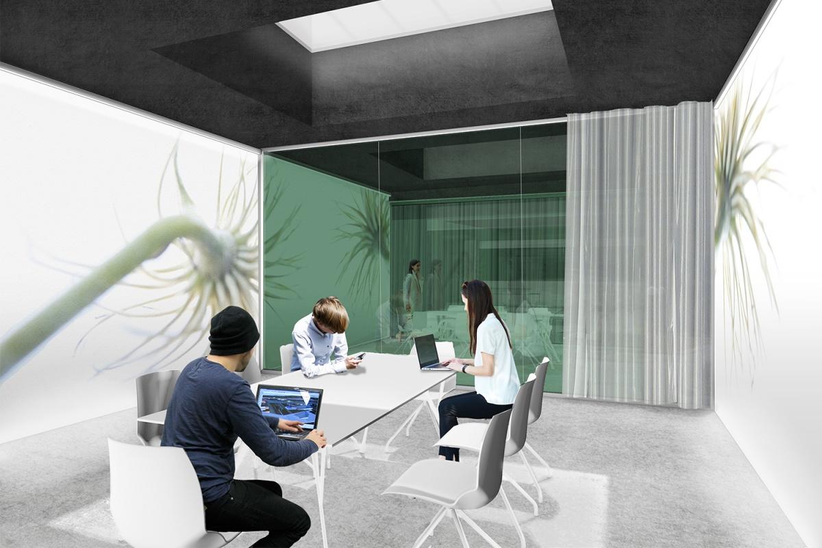 render sala riunioni con carta da parati e vetrata colorata